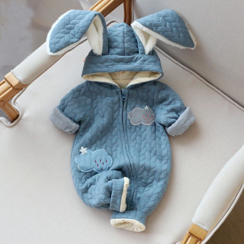 Baby kids Girls Roupas Bebe Clothing Velvet Winter Boys Rompers Rabbit Ear Hooded Infants Meninas Male Overalls Jumpsuits S4397<br><br>Aliexpress