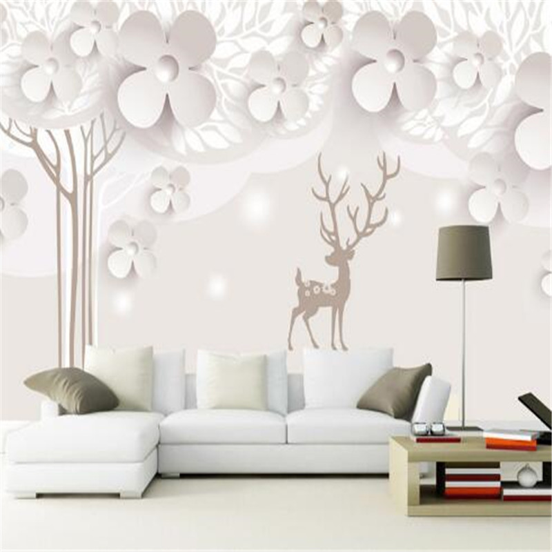 Hand Painted Wall Paper for Walls 3D Silver Flowers Wallpapers for Living Room High Quality Non-Woven Wall Paper<br>