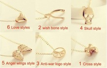 You can mix different items cheapest pendant necklace gold color chain necklace clavicle chain pendant necklace(China)