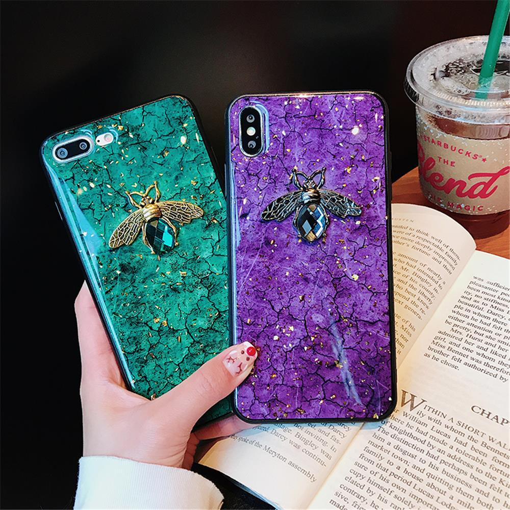 Luxury Green Diamond Crack Marble Phone Case For iphone 7 8 6 6s Plus Bee With Wing Funda cover for iphone XS MAX XR X back   (4)