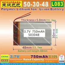 2pcs [L083] 3.7V,750mAH,[503048] PLIB / polymer lithium ion / Li-ion battery  for GPS,mp3,mp4,cell phone,speaker,DVR RECORDER