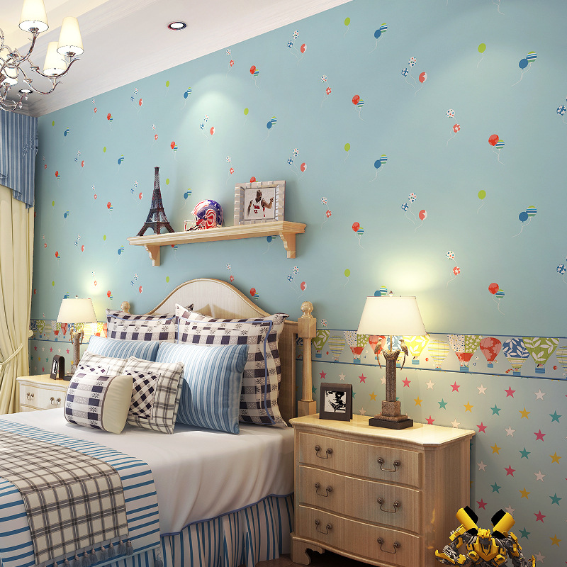 Cartoon Childrens Room Wallpaper Hot Air Balloon Five-pointed Star Nonwoven Wallpaper Girl Room Wallpaper Wall Papers Rolls<br>