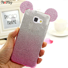 Case Cartoon Mickey Soft TPU Glitter Bling Shining Cover For Samsung Galaxy A3 A5 2016 2017 2015 A310 A510 A320 A520 A720 A7
