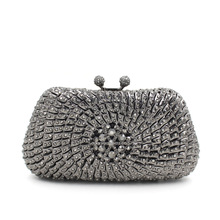 2016 New Arrival Women Clutch Bag Fashion European Style Crystal Purse Rhinestone Black and Silver Clutch Bag Cheap UK Sale