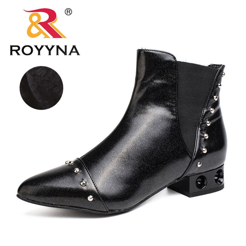 ROYYNA 2017 New Style Women Boots Pointed Toe Rivet Ankle Boots Ladies Metallic Color Upper Material Women Casual Shoes Retail<br>