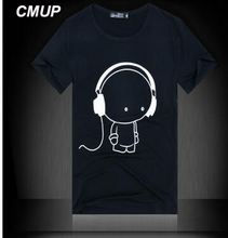 CMUP Hip Hop Camiseta Printing Music with Earphone Cotton 2017 t shirt Men Brand Famous Men t shirts Fashion Short Sleeved Tees