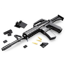 Simulation Swat Assault Rifle M16 Scale Model 1:1 Military Police Gun Weapon Blocks Assemblage Toys For Children Boys