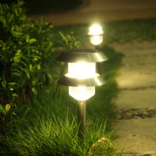 Pearlstar 4pcs Double-layer Decoration Led Solar Lights Outdoor Garden Lawn Solar Panel Lamp Landscape Yard Path Plug Light(China)