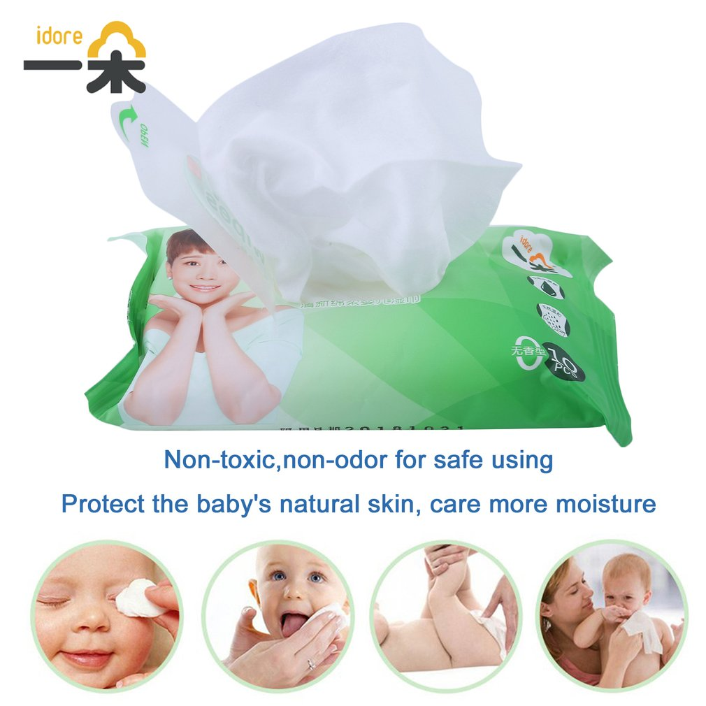 100pcs/10 Pack Idore Newborn Baby Wet Wipes Fresh Soft Moist Toddler Infant Disposable Portable Tissue Skin Clean Care Wet Wipes 2