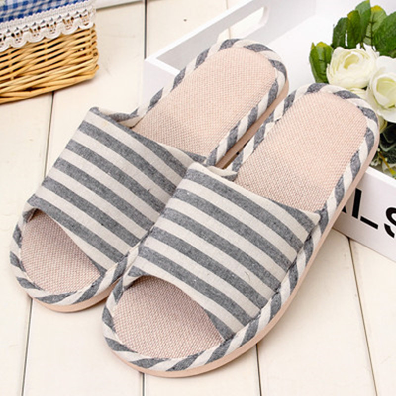 2016 New Fashion Striped Spring Summer Autumn Cotton Linen Home Slippers Men Indoor\Floor Open-Toed Boys Slippers Shoes <br><br>Aliexpress