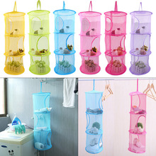 3 shelf hanging storage bag for toys net kids bedroom wall door closet organizer bathroom kitchen storage(China)
