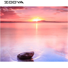 ZOOYA 3D DIY Diamond Painting Cross-Stitch Embroidered With Rhinestones Sea Sunset Stone Wall Stickers Pictures By Number AT1207(China)