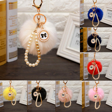 Buy LNRRABC Lady New Popular Chrming Soft Fluffy Ball Keyring Beads Pendant Handbag Key Chain Pom Gift for $1.68 in AliExpress store