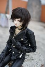 Cool Multi-way Zipper Oblique Buckle Motorcycle Leather Jacket for BJD Doll 1/3, SD17,Uncle,SSDF,Spirit Ver.2 Doll Clothes CM3(China)