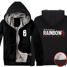 Game Rainbow Six: Patriots Hoodies Winter Super Warm Fleece Polyester Black Mens Casual Zip up Thick Coats Clothing(China)