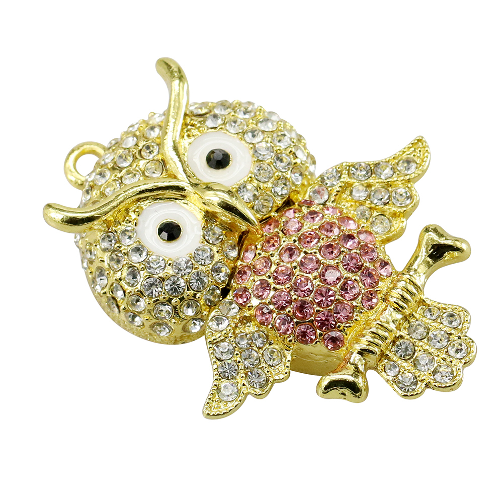Animal USB Flash Drive Metal Diamond Owl Pendrive Nighthawk Pen Drive 4GB 8GB 16GB 32GB 64GB USB Memory Stick Gift With Necklace 30