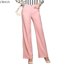 New 2017 Women Linen Pants Korean Casual Straight Trousers High Waist Thin Comfortable Lady Wide leg Pants Big Size S-3XL White