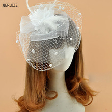 JIERUIZE Iovry White Black Red Birdcage Net Wedding Bridal Fascinator Face Veils Feather Flower with Hairpins Free Shipping