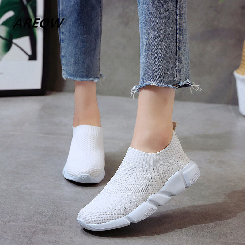 Women's Flying Woven Shoes Women's Breathable Non-slip Sneakers 2019 Spring and Summer New Fashion Women's Shoes(China)