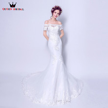 Buy QUEEN BRIDAL 2018 New Wedding Dresses Mermaid Short Sleeve Lace Pearls Sexy Wedding Gowns Vestido De Noiva Bridal Gowns JW99 for $85.98 in AliExpress store