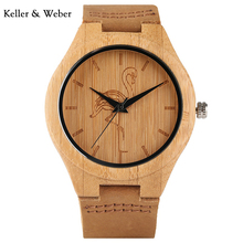 KW Animal Pattern Bamboo Men Watches Trendy Hot Genuine Leather Band Strap Wrist Watch Natureal Crane/Cat/Dog Modern Gift(China)