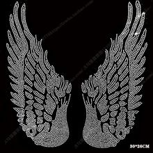bigsize wing motif rhinestones fix iron on Rhinestone transfer heat beads patch applique clothing decoration patches(China)