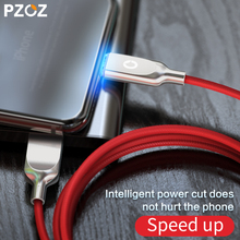 PZOZ For iphone 8 X Lighting Cable USB Cable Fast Charger For iphone 7 6 plus i5 iphone 5 s se ipad Auto Disconnect Led cable