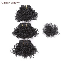Golden Beauty Very Short Curly Sew in Hair Extension Synthetic hair Bundles with closure weave for black women