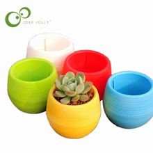 5pcs/set MINI Plastic Flower Pot Succulent Plant Flowerpot For Home Office Decoration 5 Color Garden Supplies WYQ