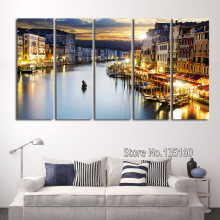 Modern Home Decor Pictures The Wall Painting Venice Canal Gondolas Wall Art Print Canvas City Night 5 Panel 25x70cm No Frame