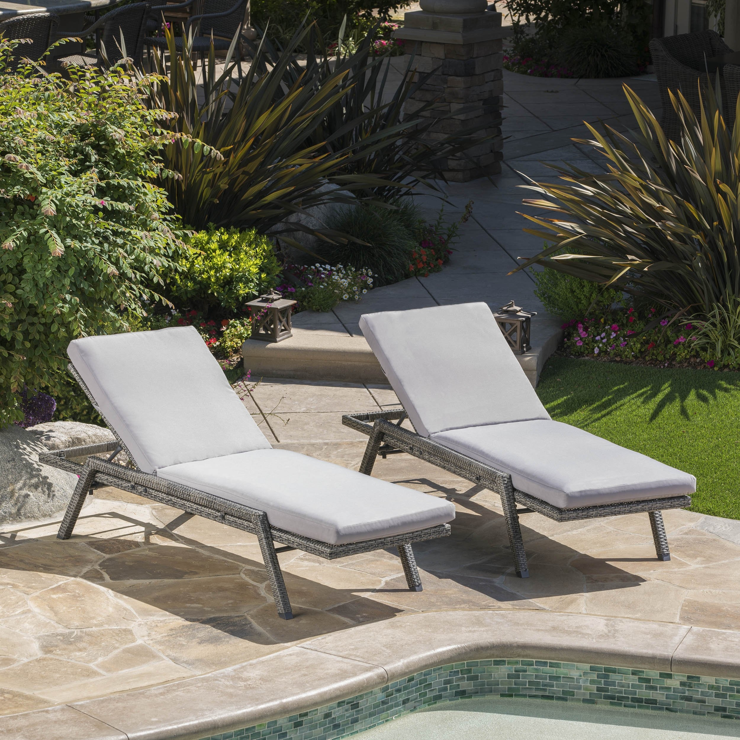 Fiora Outdoor Wicker Chaise Lounge w/ Grey Water Resistant Cushion (Set of 2) (1)