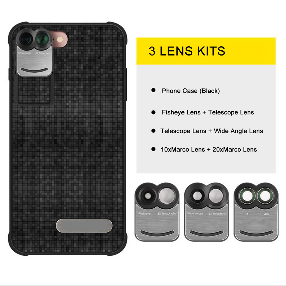 17 New For iPhone 7 Plus 7Plus Dual Phone Camera Lens Fisheye Wide Angle Macro Telescope Camera Phone Lens with Phone Case 3