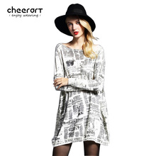 Cheerart Women Knitted Long Newspaper Print Loose Large Plus Size Oversized Sweaters And Pullovers Jumper Pull Femme