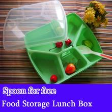 Quality 4 Lattices Baby Food Storage Box Kids plastic food storage containers Eco-Friendly Meal Box Camping Vacuum Lunch Box