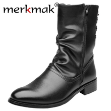 Merkmak Luxury Brand Genuine Leather Boots 대 한 Men 첨 발가락 숨 Soft Shoes 패션 Vintage Casual 츠 Autumn Winter(China)