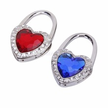 Red/Blue Heart Shape Rhinestone Folding Purse Handbag Hanger Hook Holder(China)