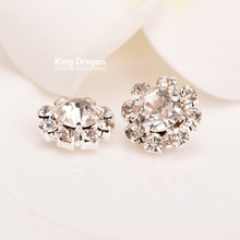Crystal Rhinestone Button Sew On Flower Center 10MM 20pcs/lot Shank Back Or Flat Back Silver Color