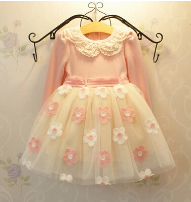 New Baby Girls Lace Dress Girls Long Sleeve Flower Party Dresses Childrens Clothing Girls Outerwear Clothing<br>