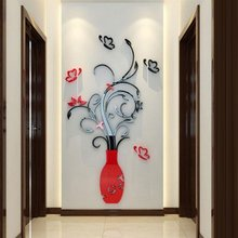 Purple Red 3D Flower Vase Wall Stickers Crystal Acrylic Mirror Glass Wallpaper DIY Crafts Home Room Decoration Art Mural Decals