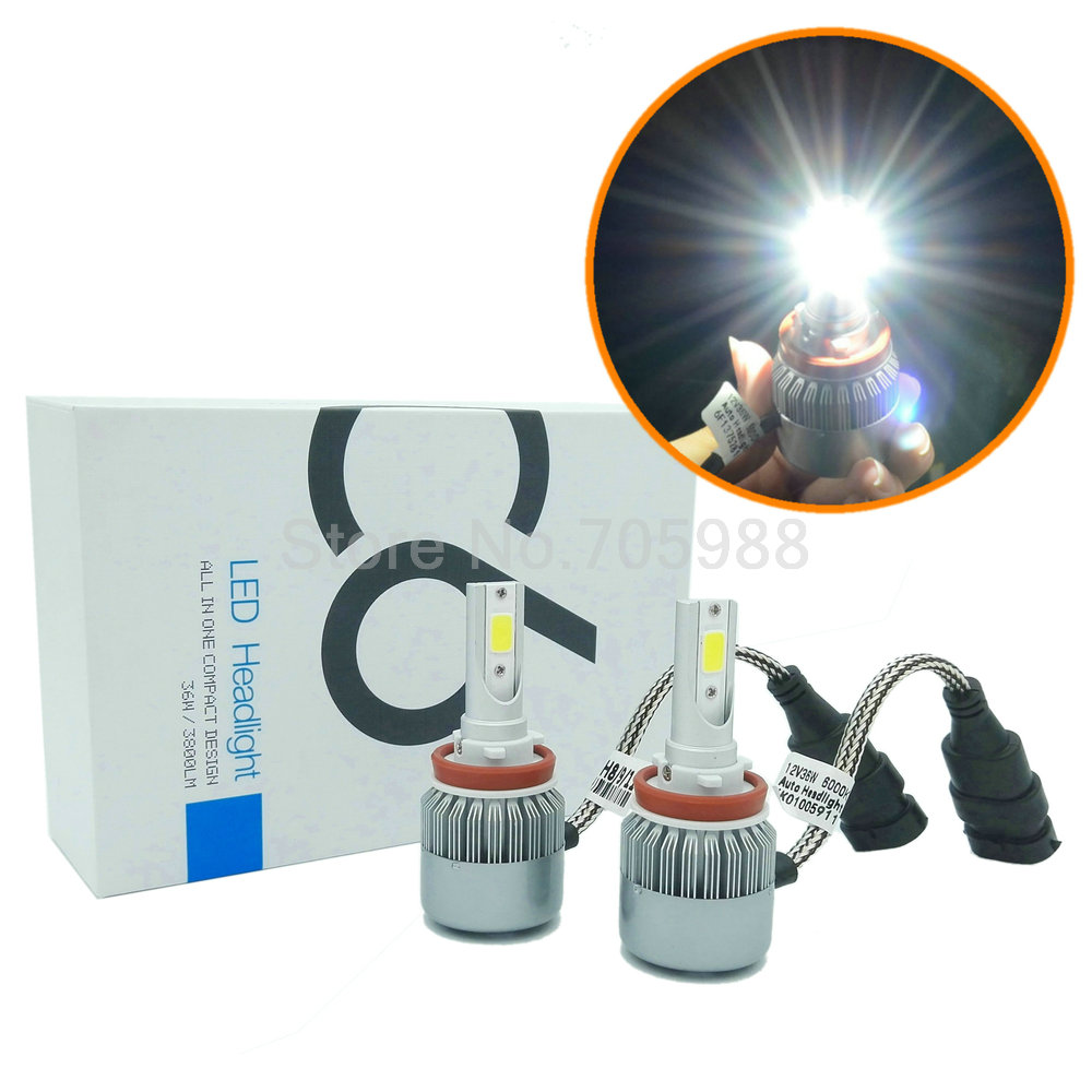 2*72W 7600LM COB H8 H9 H11 led headlights H7 9005 HB3 HB4 9006 H11 H10 H1 H3 880  LED headlight bulbs headlamp LED Car headlight<br><br>Aliexpress