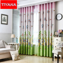 Cute Cartoon Cat Curtain For Kids Bedroom Full Shade Curtains And Transparent Tulle For Baby Children Custom Made Product A199&3