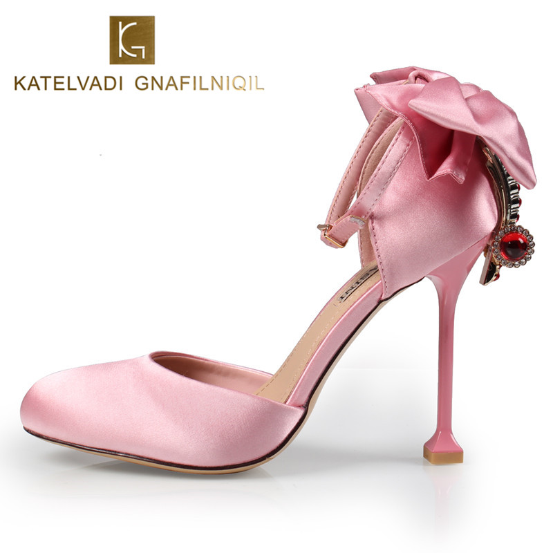 Summer Brand Women Sandals High Heels Shoes Woman Luxury Wedding Sandals Sexy Women Shoes Pink Butterfly-knot Sandals B-0248<br>