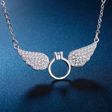 Angel Bola Vintage Luxury Zircon Angell Design Crystal Angel Wing Necklace Best Friend Tattoo Choker Overwach Collier N-002(China)
