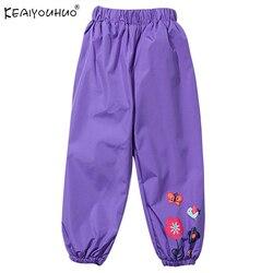 Коллекция 2018 года, весенне-осенние водонепроницаемые брюки для девочек, модные детские штаны высокого качества штаны ярких цветов для дево...