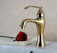Free shipping!CLASSIC  basin gold colour taps. deck-mounted single handle bathroom mixer faucet.1pcs/lot