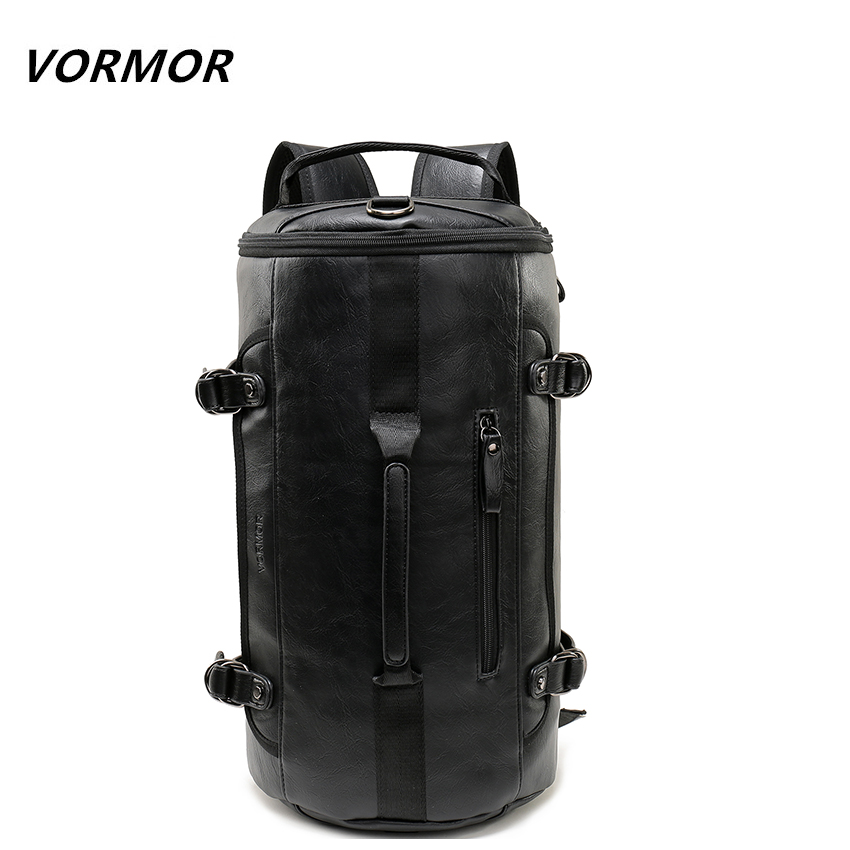 VORMOR Personality Large Size Round Leather Mens Travel Bag Fashion Rolling Travel Backpack For Man Famous Brand Duffel Bag<br>