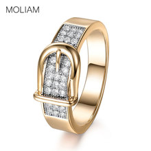MOLIAM Fashion Belt Design Womens Rings Accessories Gold-Color Copper Cubic Zirconia Finger Ring Statement Jewelry 2017 MLR605(China)