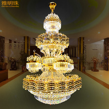 European style chandelier crystal lamp double entry building villa living room droplight stair lights LED lights AC90-220V(China)