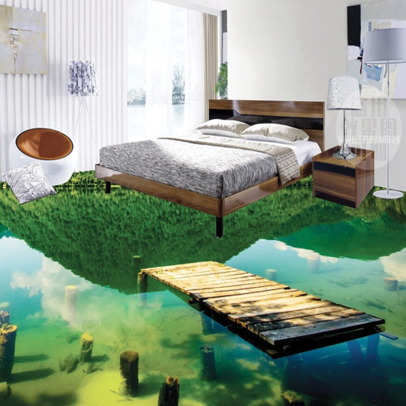 Free Shipping natural scenery 3D flooring wallpaper shopping mall kitchen bedroom self-adhesive floor mural<br><br>Aliexpress
