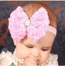 12Clrs Fashion children kids Baby girls Pearl & 2-layer Rose Flowers Bowknot Headband Headwear Hair Band Head Piece Accessories
